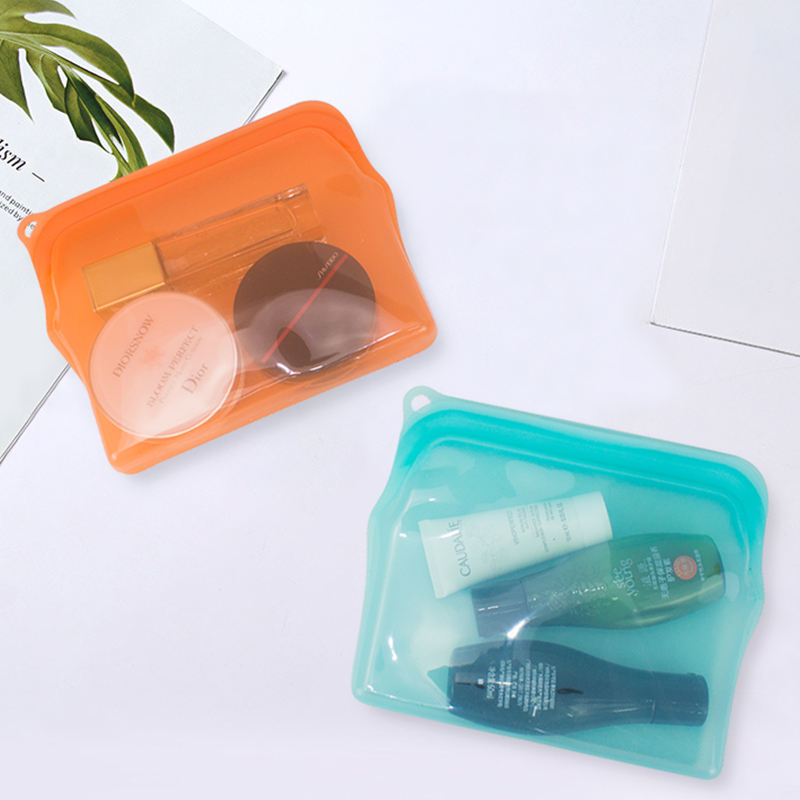 Silicone [ Cosmetic Bag ] Bag New Design Eco Friendly Travel Customized Logo Clear Makeup Set Silicone Cosmetic Bag