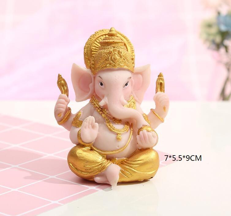 HOT SELLING BAR COUNTER INDIAN ELEPHANT GOD SIT RESIN CUTE PINK ELEPHANT TRUNK GANESH TEMPLE DECORATION OFFICE TABLE ORNAMENT