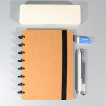Kraft Paper Portable A5 Refillable Hardcover Writing Journal Notebook Loose Leaf Paper Mushroom Holes 8-Ring Binder