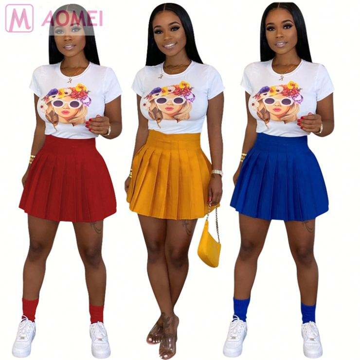 S0025 best price solid casual pleated Ladies Clothing Woman Fashion Mini Skirt
