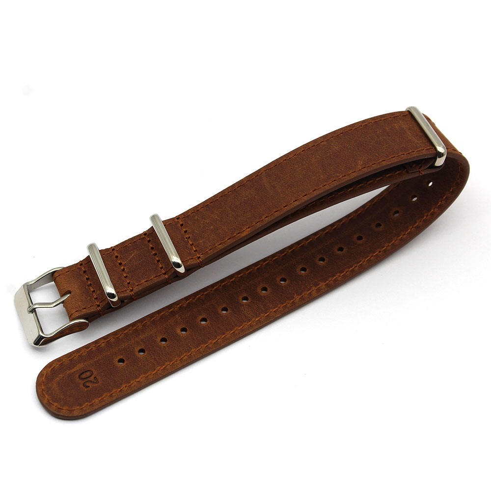 OEM Custom Nato 12mm 14mm 16mm Distressed Leather Watch Band