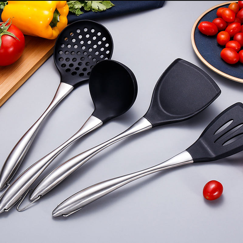 Hot Sale Stainless Steel Hollow Hand Grip Non-stick 260C/500F Heat Resistant Silicone Rubber Cooking Kitchen Utensils Set
