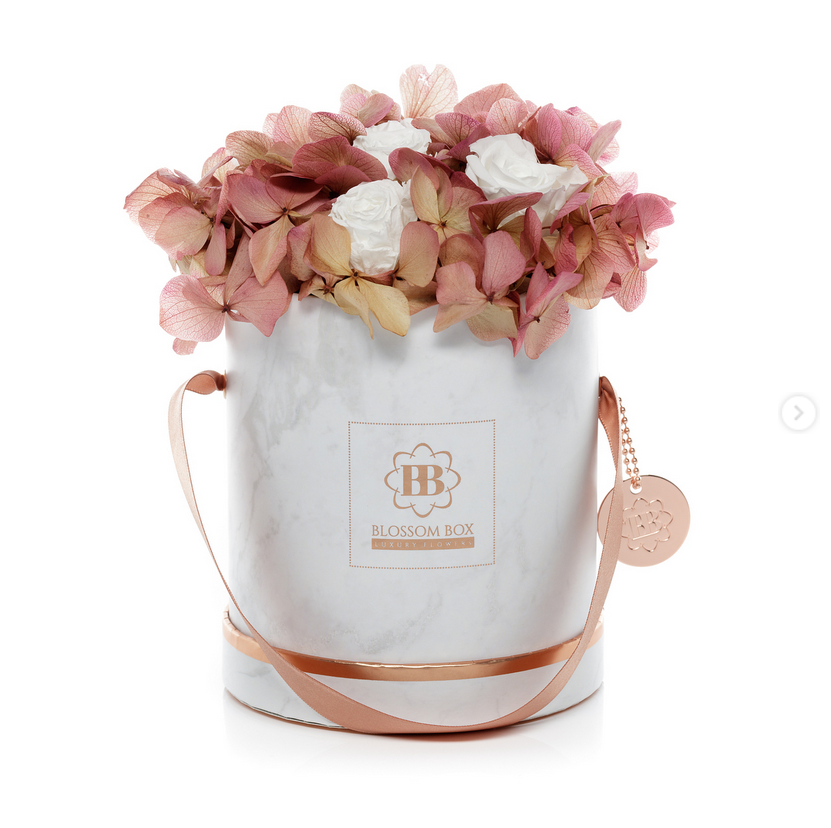 Hot Rose gold clear round paper flower hat box