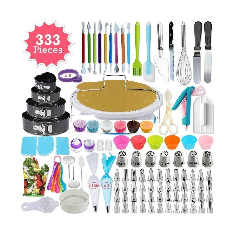 NEW 2020 Amazon Hot Sale 333 PCS Cake Decorating Supplies Baking Tools Kit Piping Tips Toppers Fondant Cake Decorating Tools Set