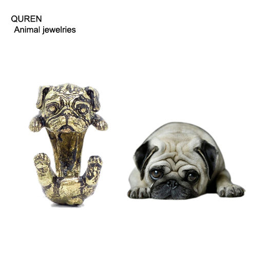 fashion jewelry pet accessories animal pug dog ring women
