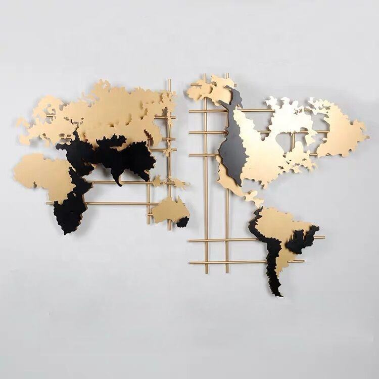 Creative Stereoscopic Wall Mounted Office Company Store Home Decorative Art World Map Metal Wall Decor