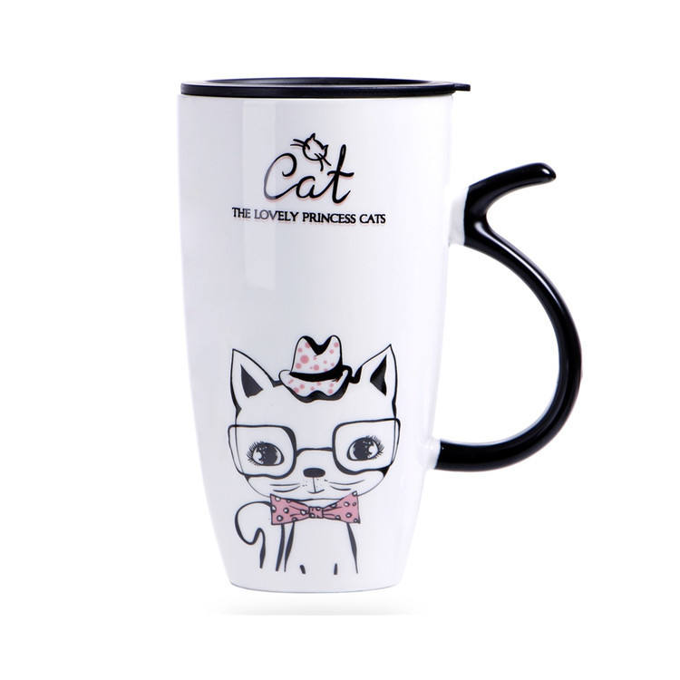 Lovelty kitten pattern cheap bulk cermaic mugs / big ceramic mug with lid and long handle