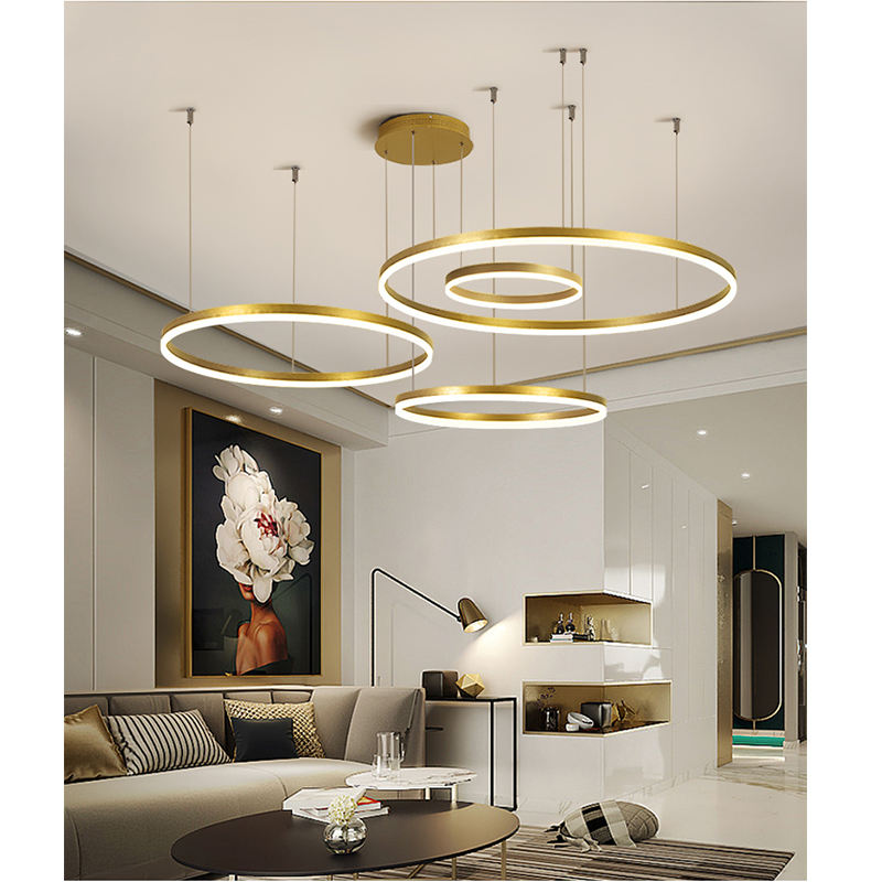 Aicco White Black Golden Color Modern LED Ring Chandelier, Circular Circle Pendant Light For Home 4951 4952 4953