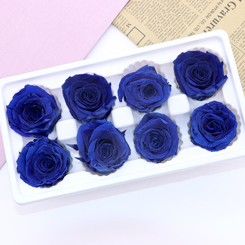 Wholesale Preserved Roses In Box Real Touch Rose Head Eternal Flower Purple Roses For Valentines Day Gift