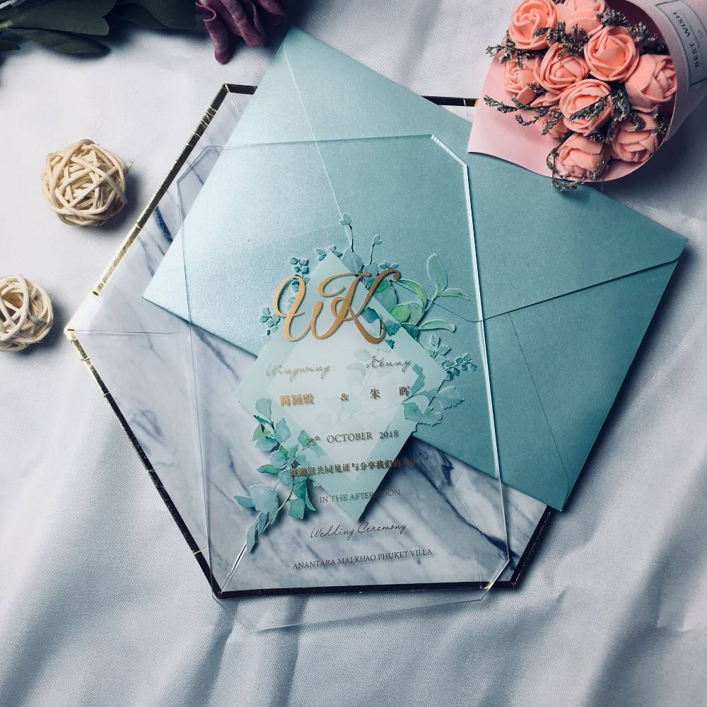 2019 TOP Grade Luxury Custom High Quality Acrylic Wedding Invitation