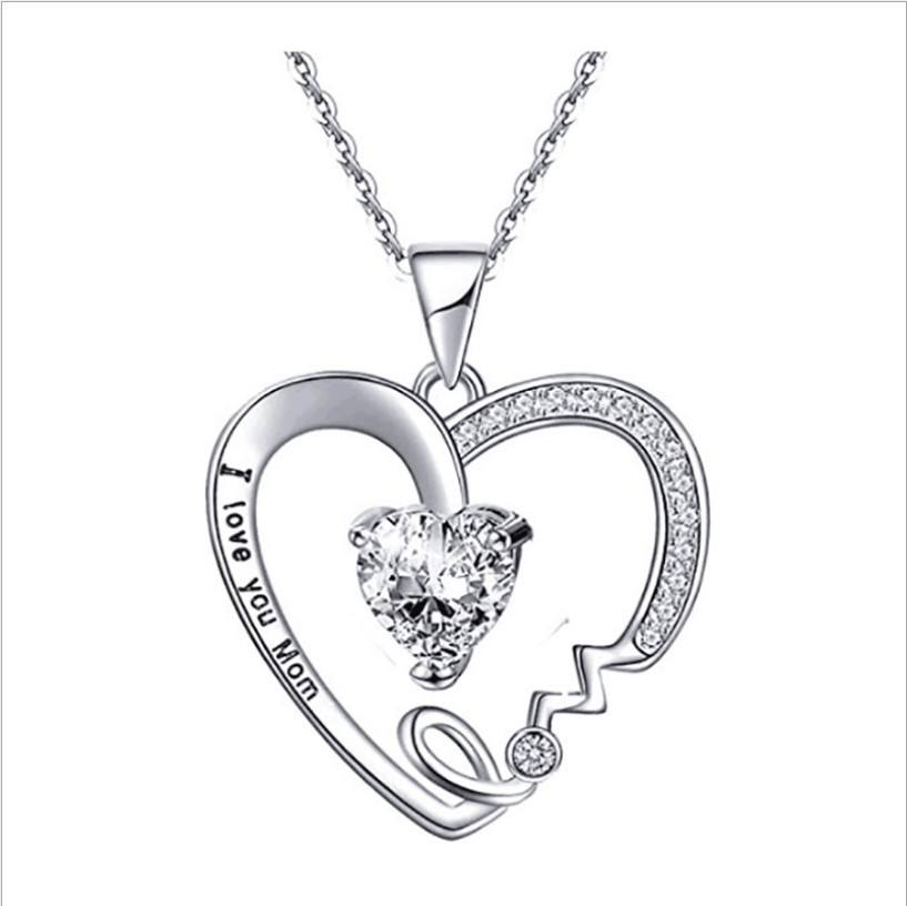 2019 New Arrival Heart Necklace Crystal Jewelry Necklaces I love You Mom Boho Zircon For Women Mother