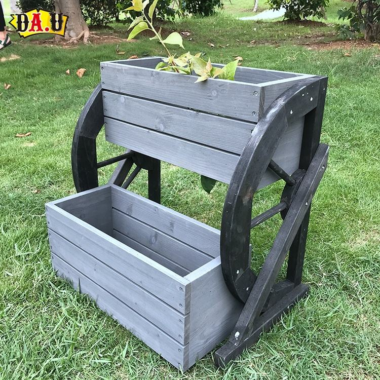 Custom fashion trend wooden planter box outdoor 2 layer garden flower rack