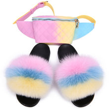 New arrival fashion fox fur slides women's fluffy slippers with fanny purse set furry slippers and purse
