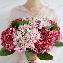 Real Touch Wholesale Pink Fake Fabric Silk White Floral Arranging Artificial Latex Hydrangea Flowers Wedding Decor Bouquets
