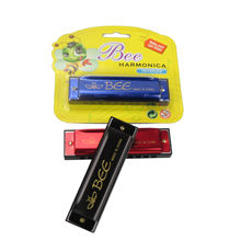 BEE brand 10 holes blues harrmonica aluminum reedplate colorful music toy mini harmonica