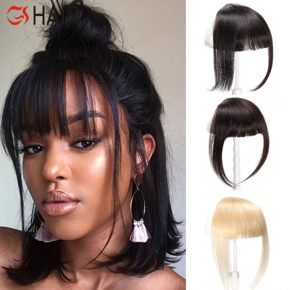 GS 100% Remy Brazilian Human Hair Bangs Clip In Human Hair Extension Remy Clip-In Fringe Hair Bang 613 Neat Bang For Black Women