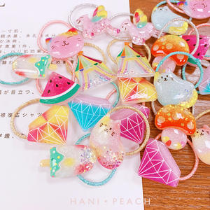 Cute Cartoon Animals Fruit Ponytail Holder Scrunchies Kid Hair Accessories Elastic Hair Bands