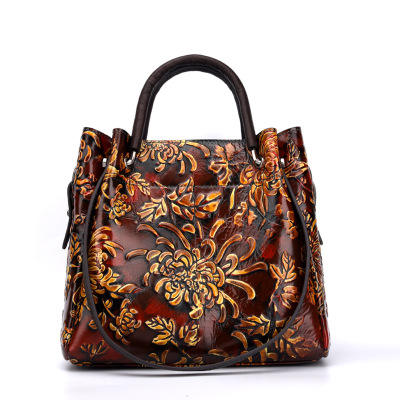 Autumn and winter cowhide handbags brands china embossed flower hand bags 2020 women lady tote leather bag