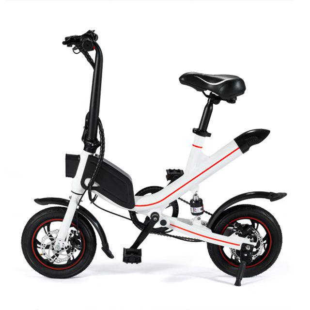 "12"" mini White color hidden battery E-bike,Double disc brakes electric folding bicycle"