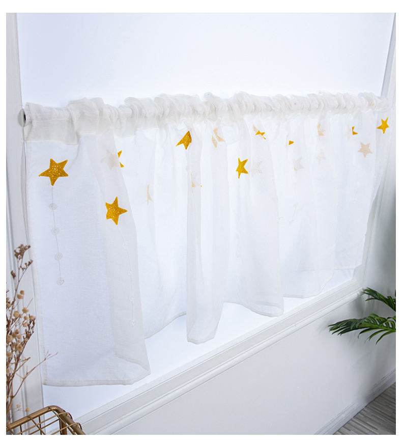 Star short porch cover embroidered embroidery finished three-dimensional kitchen curtain