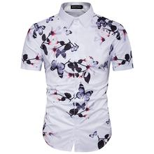 hot sale high quality formal dress cotton 3D printing flower loose regular beach casual fashion summer shirts for men