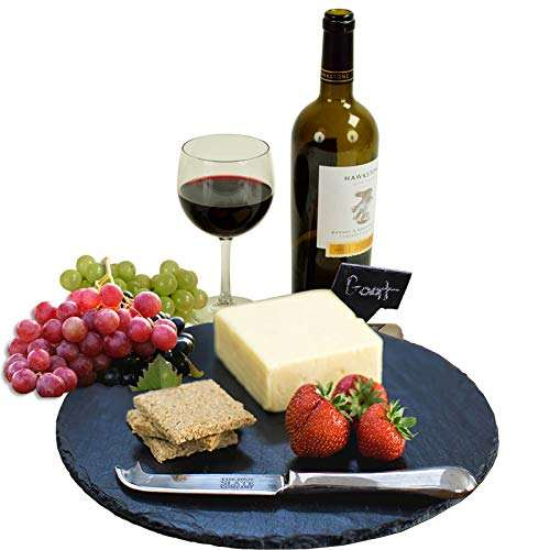 natural Slate Cheese Board Platter Stone Round Serving Tray