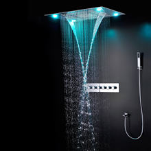 LESUN 2020 new design rainfall concealed shower set LED ceiling thermostatic mixer shower faucet