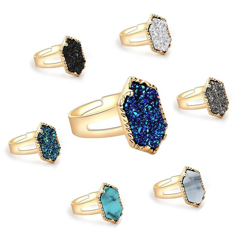 New Trendy agate druse ring Crystal Cluster Rings Charming Finger Ring Gifts Ladies Multicolor Optional Wedding Party Jewelry