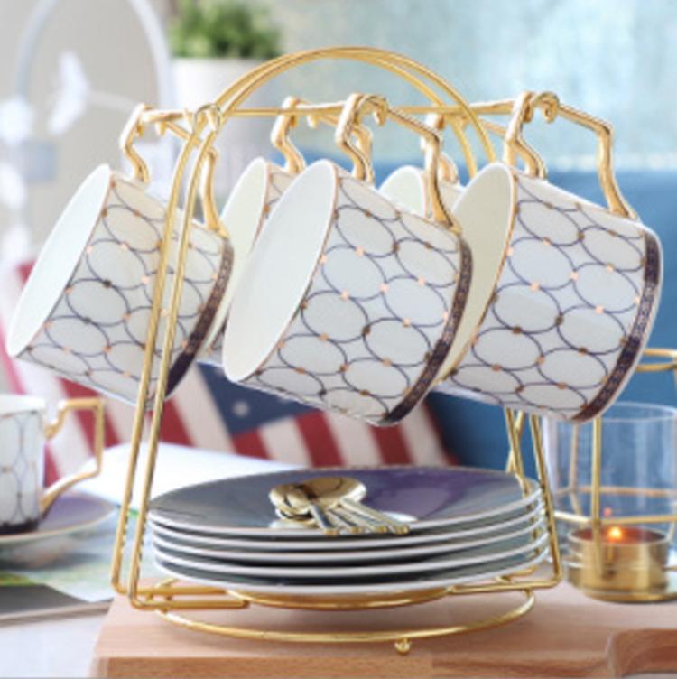 Real de madera oro azul taza de café platillo china de hueso tazas de té para <span class=keywords><strong>casa</strong></span> restaurante uso