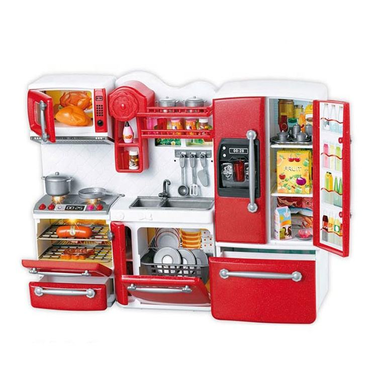 Amazon hot Music Light Functions refrigerator And Funny pretend play cooking Stove kids girl big kitchen+toy sets