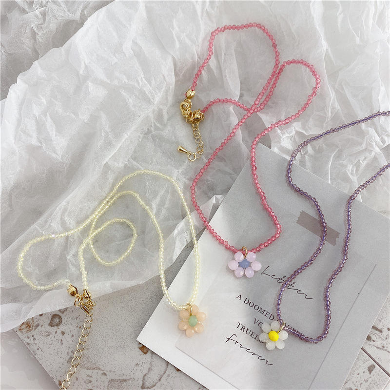 JUHU handmade measle Maiden rainbow flowers beaded collarbone chain cute colorful beaded necklace beads jewelry wholesale
