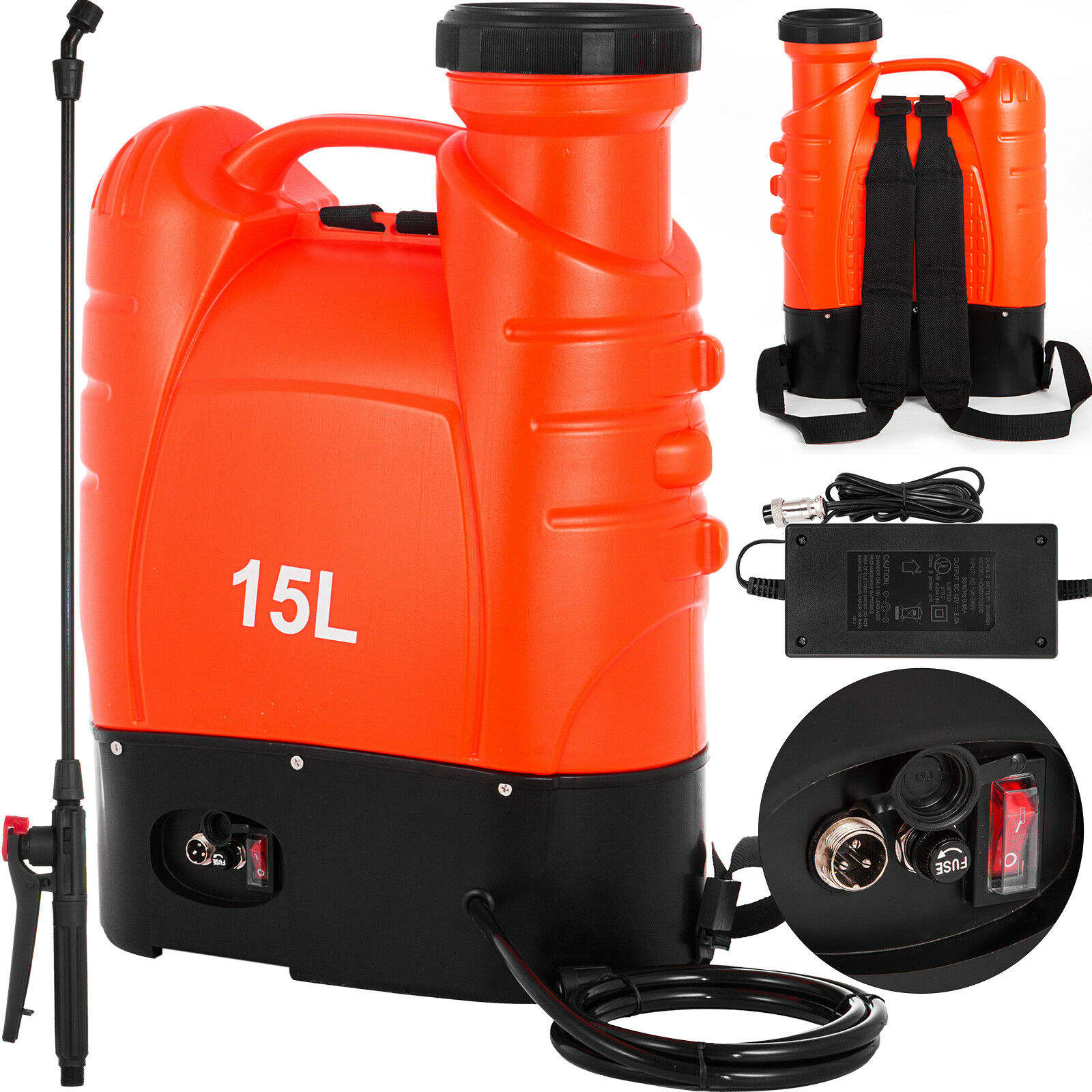4-Gallon (15L) Battery Powered Backpack Pesticide/Fertilizer Sprayer for Garden Lawn