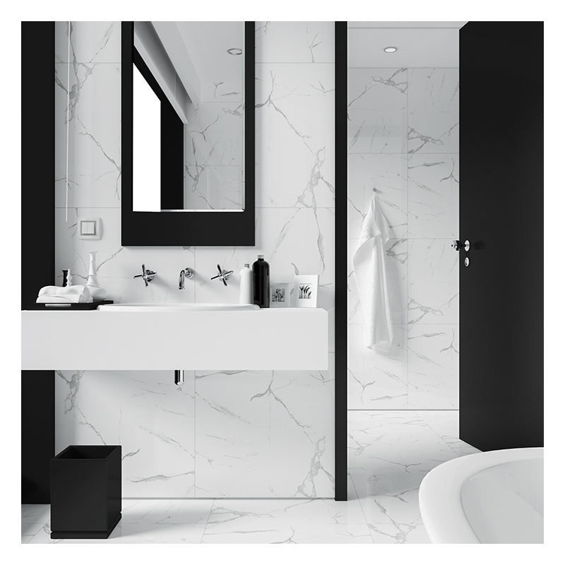 bathroom ceramic wall 600x600 white carrara marble tiles
