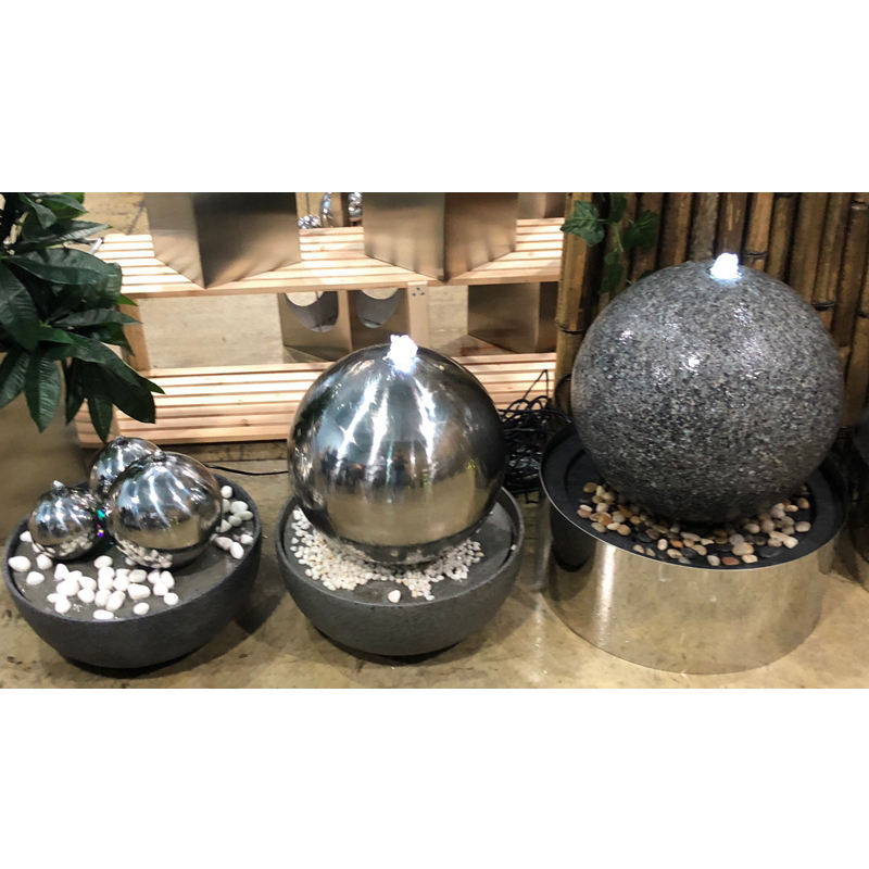 Stainless Steel Led Lighted Glass Big Fengshui Christian Abstract Water Fountain Prices