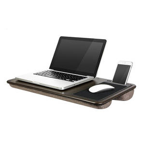 Home Office Lap Desk with Device Ledge, Mouse Pad, and Phone Holder - Espresso Woodgrain - Fits Up to 15.6 Inch Laptops