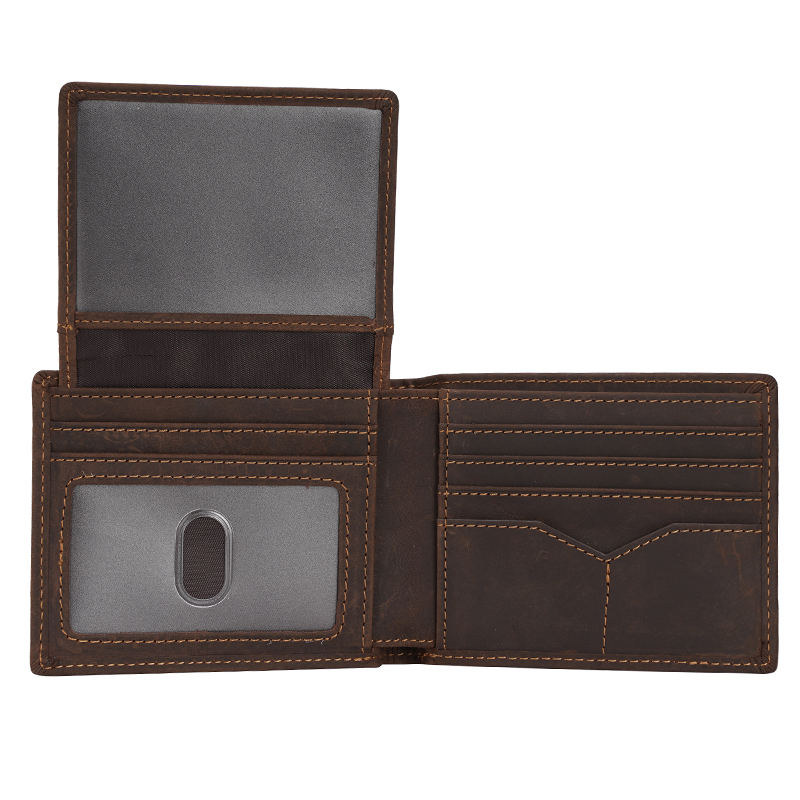 Vintage Mens Real Leather Short Bifold Wallet Cowhide Genuine Leather Wallet With ID Window