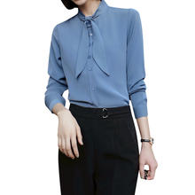 Chiffon professional shirt women's long sleeve spring and summer New tie temperament work clothes round collar shirt