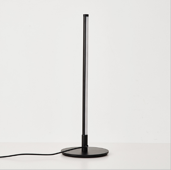 modern zhongshan wholesale simple Aluminum bedside led black stirp black table lamp