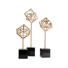 Geometric sculpture antique brass arabic artifacts home decor multi-cube sculpture home decoration crafts