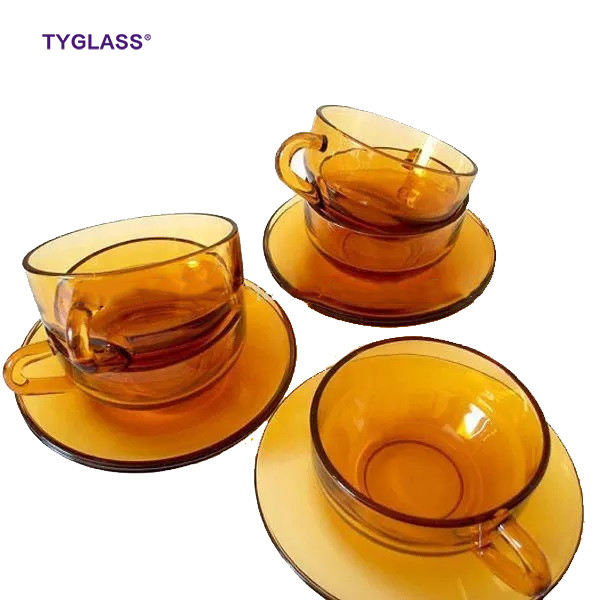 Logo Customization [ Cup Saucer ] Guaranteed Quality Reusable Amber Color Borosilicate Glass Tea Cup And Saucer