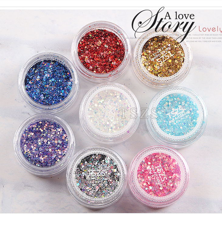 TSZS Hot Selling Japanese Laser Powder Professional Multicolor Nail Art Flakes Sparking Sequins Printing Logo