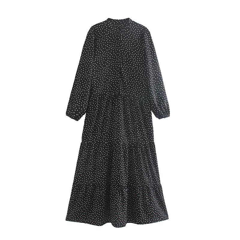 Basic design polka dot printed women autumn long sleeve maxi dress casual wear