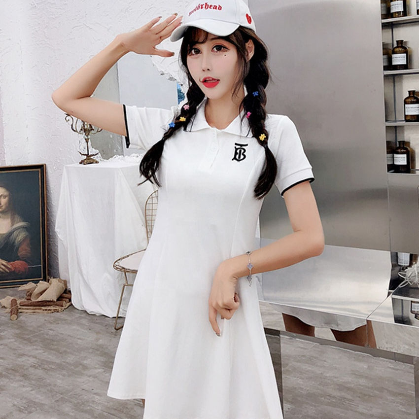 Wholesale Custom Lady Clothing Fitted Solid Color Short Women Sport Polo Shirt Dresses