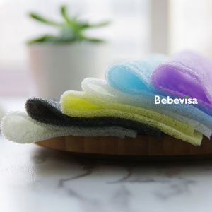 Bebevisa 2020 natural products colorance free bamboo charcoal infused Exfoliation konjac towel konjac sponge cloth for cleansing