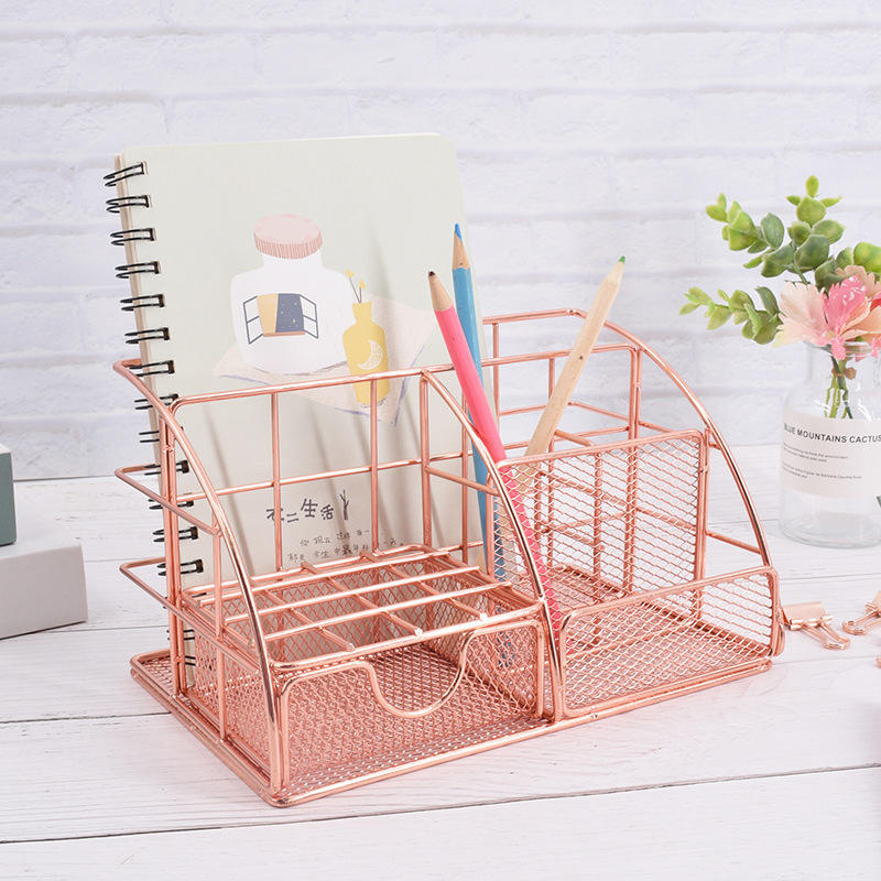 Office stationery rose gold metal mesh table desk organizer with drawer