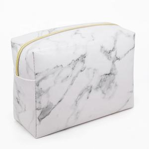 Toiletry Bag White Marble Leather Cosmetic Bag Blanks Promotion PU Makeup Brush Bag Large