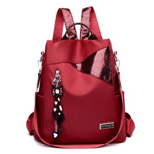 Simple style ladies backpack anti-theft Oxford tarpaulin stitching sequins juvenile college bag purse Bagpack Mochila
