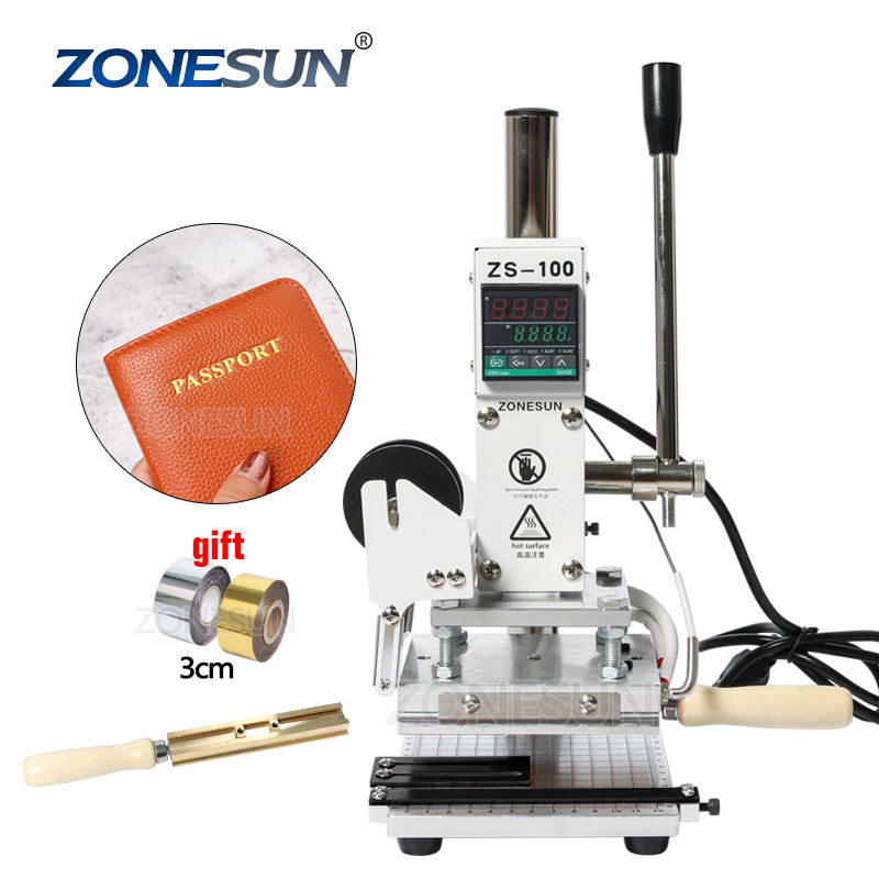 ZONESUN ZS100 Electric Leather Stamping Machine Custom Metal Stamp Leather Embossing Hot Stamping Foil Machine