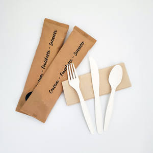High Quality 8 Inch Disposable Cornstarch Tableware Set Biodegradable Corn Starch Cutlery with Cornstarch Knife Fork Spoon