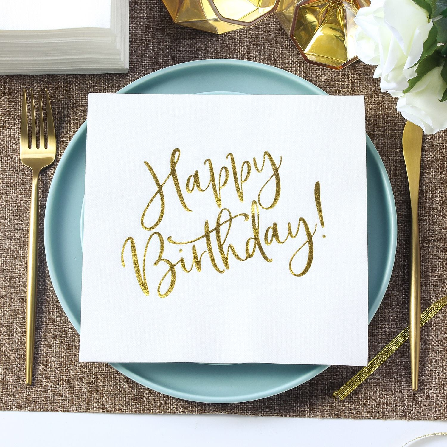 Leckoh custom birthday paper napkin prints for kids sceneries